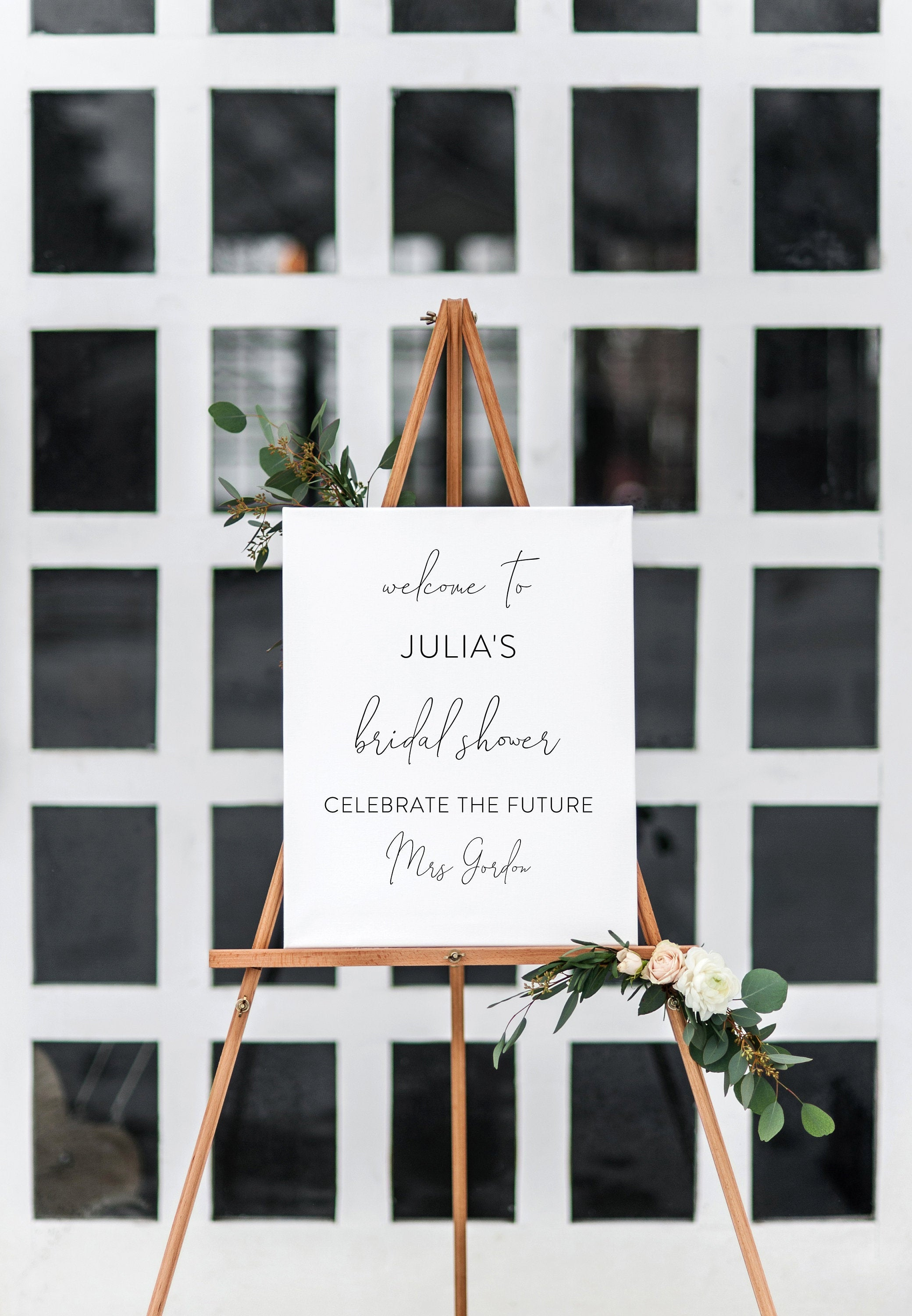 Minimalist Bridal Shower Welcome Sign Template, Instant Download, Editable Wedding Welcome Sign - Julia