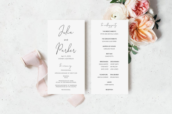 Wedding Program Fan Template, Printable Ceremony Programs, Instant download, Minimalist Wedding Programs - Julia
