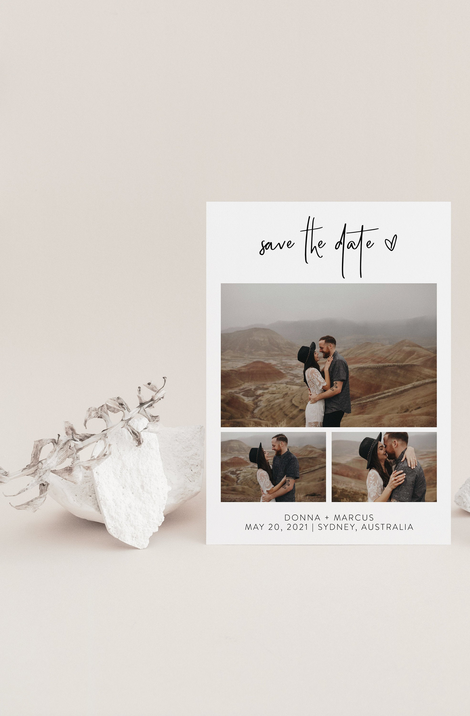 Printable Wedding Save-the-Date Template with photo Engagement Invite 100% editable Heart - DONNA