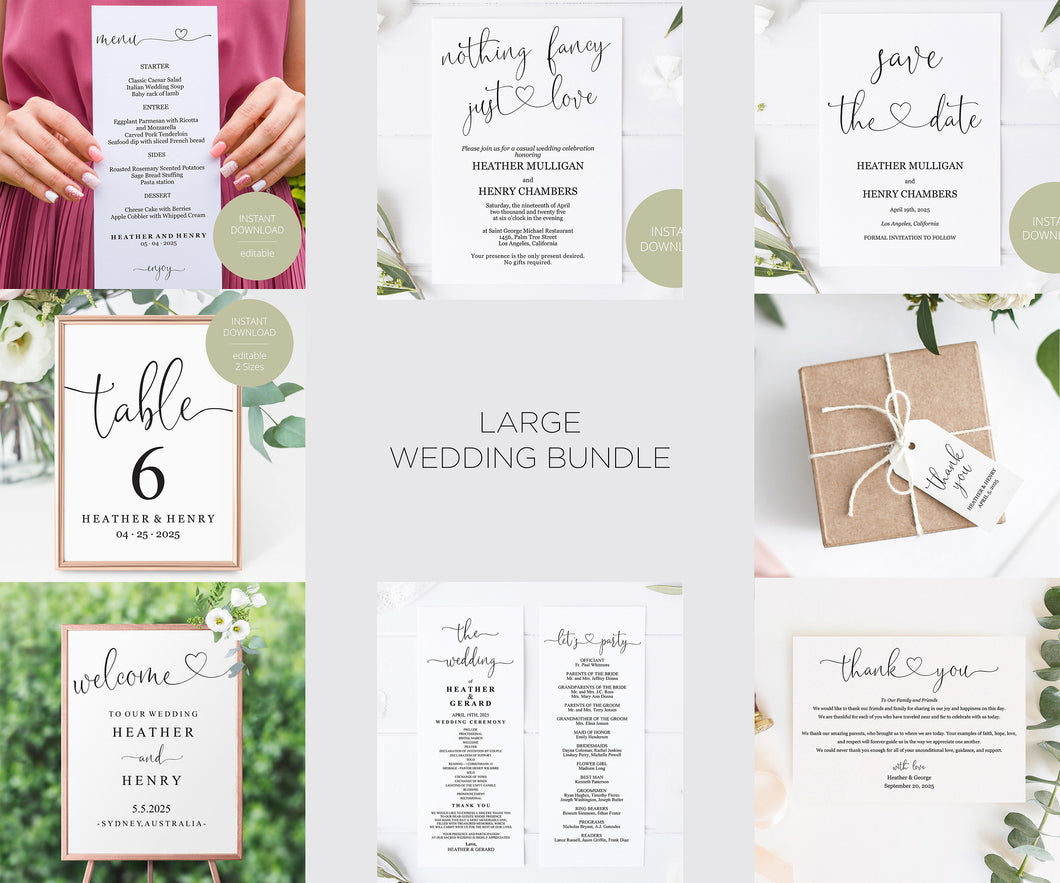 Minimalist Wedding Invitation Template Bundle, Minimal Wedding Invitation, Modern Wedding Invitation, DIY Wedding Invite Simple - Heather
