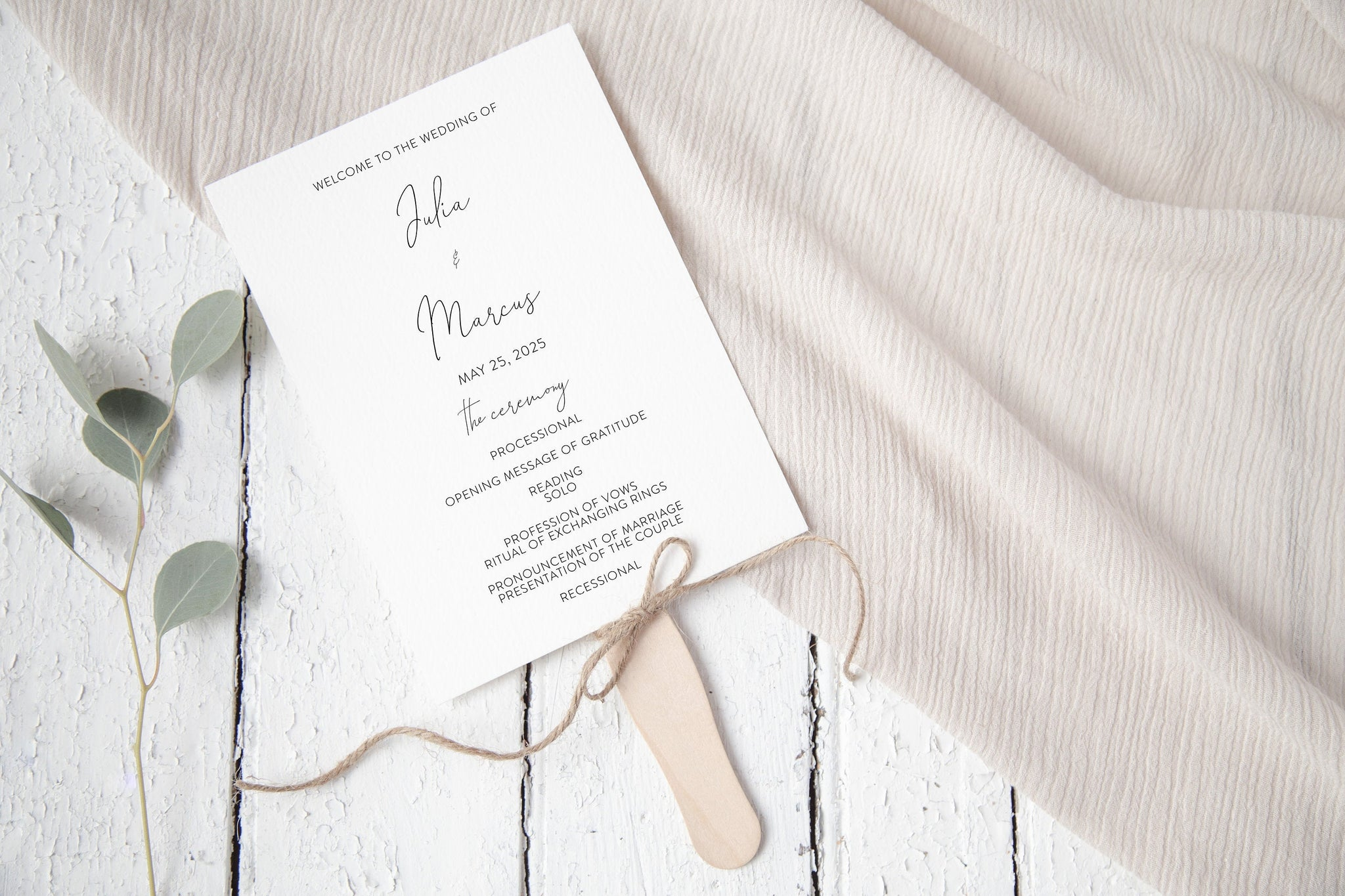 Wedding Program Fan Template, Printable Ceremony Programs, Editable Program Template, Instant download, Minimalist Programs - Julia