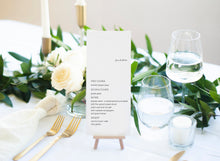 Load image into Gallery viewer, Minimalist Wedding Menu Template, Printable Wedding Menu, Instant Download, Editable with Templett - Julia