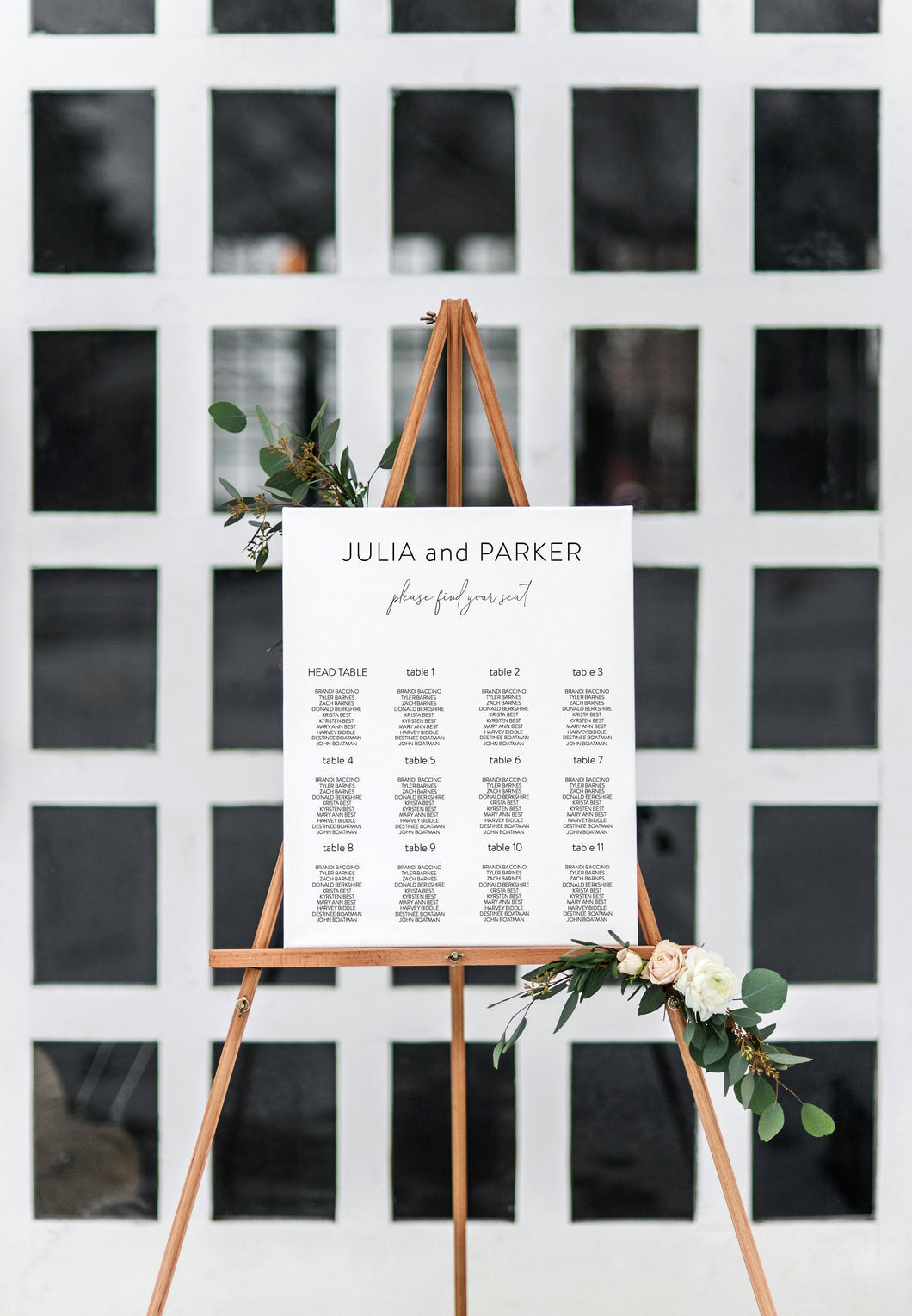 Wedding Seating Chart Template, Printable Seating Sign, Editable Text, INSTANT DOWNLOAD - Julia