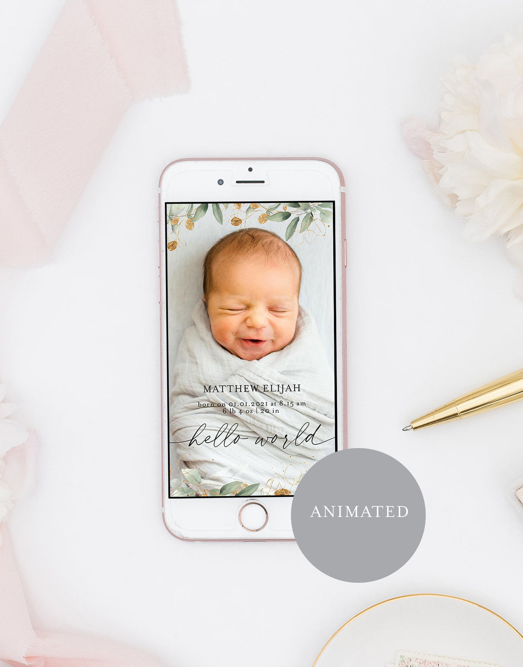 Animated Birth Announcement Baby, Greenery Newborn Announcement, Video Mp4 Newborn Announcement, Instagram Story