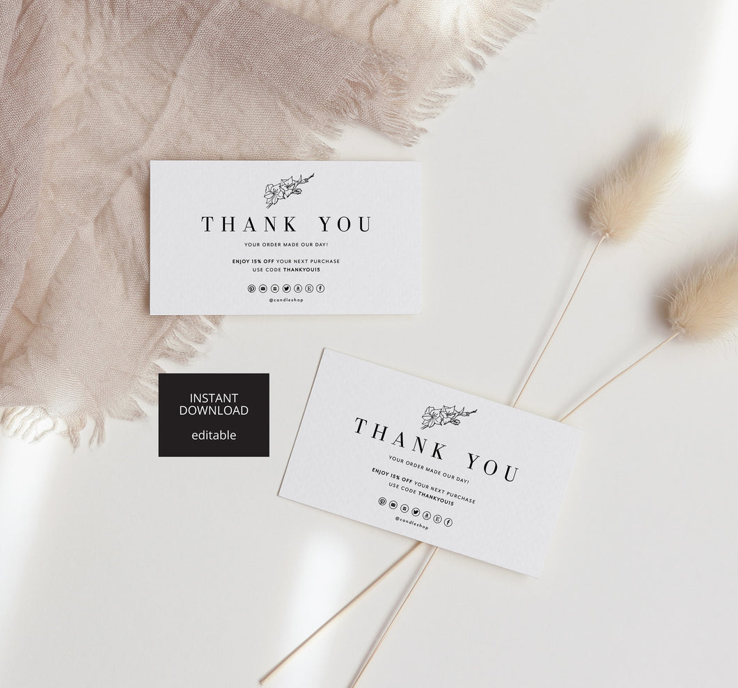 Editable Business Thank You Template, Thank You For Your Order Card Template, Printable Thanks Insert Design