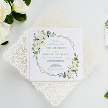 Load image into Gallery viewer, Ivory Wedding Invitations laser cut greenery gold elegant wedding invitation elegant laser cut card
