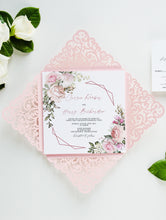 Load image into Gallery viewer, Blush Wedding Invitation Set laser cut rose gold elegant wedding invitation Floral Wedding Invites