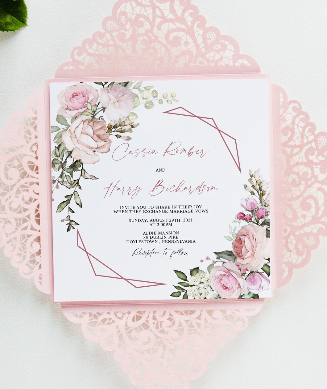 Blush Wedding Invitation Set laser cut rose gold elegant wedding invitation Floral Wedding Invites