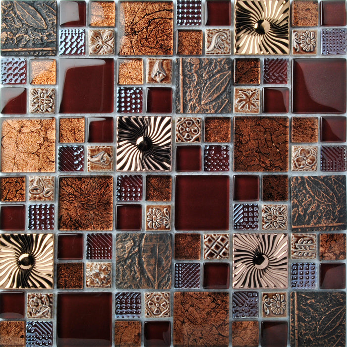 TST Interlace Glass Tile Rose Gold Beige Tan Brown Inner Conch Inlay Beach Style