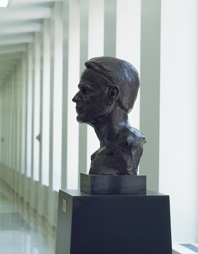 Statue of George H W  Bush a former CIA director as well as U S  president  at CIA headquarters in Virginia
