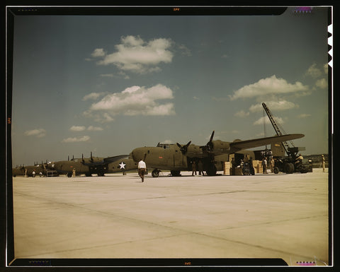 Loading new transport planes at the Consolidated Aircraft Corporation plant Fort Worth Texas