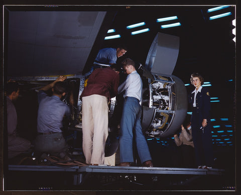 Installing an engine at the Consolidated Aircraft Corporation plant Fort Worth Texas