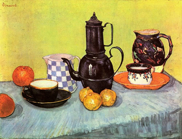 Still Life Blue Enamel Coffeepot Earthenware and Fruit