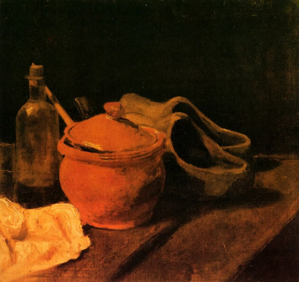 Still Life with Earthenware Bottle and Clogs