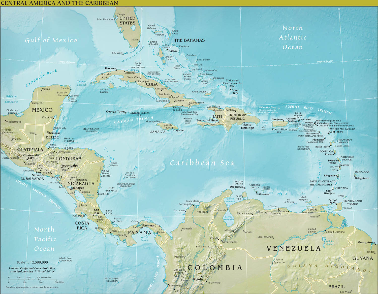 Poster of central america physical map vintprint posters central america physical map sciox Images