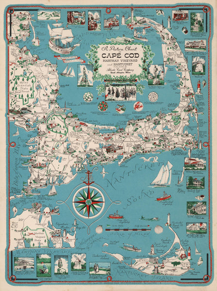 Picture Chart of Cape Cod, Martha's Vinyard and Nantucket.