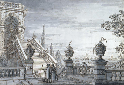A Capriccio with a Monumental Staircase (1760) by Canaletto