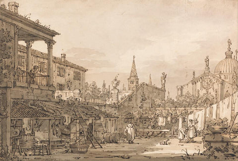 Capriccio of a Venetian Courtyard by Canaletto