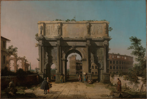 View of the Arch of Constantine with the Colosseum by Canaletto (Giovanni Antonio Canal) (Italian