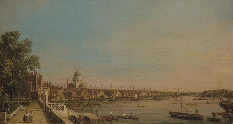 The Thames from the Terrace of Somerset House, Looking toward St. Paul's (1750) by Canaletto