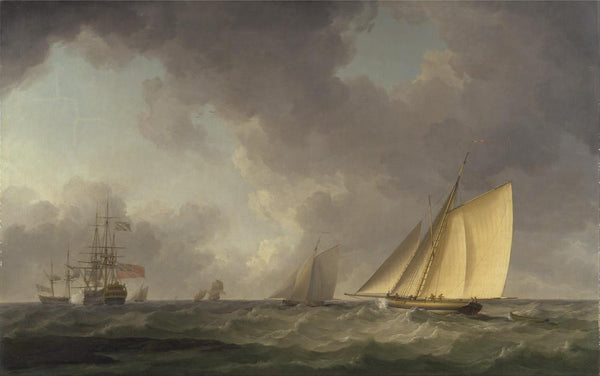 Cutter Close Hauled in a Fresh Breeze  with Other Shipping by Charles Brooking