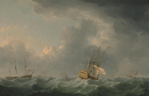 English Ships Running before a Gale by Charles Brooking