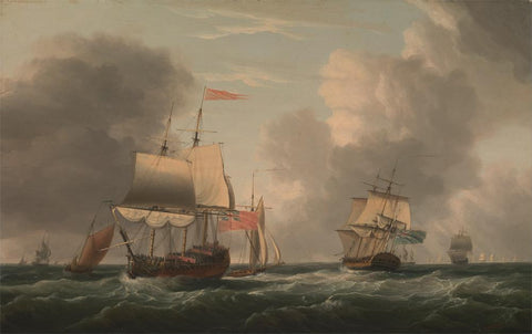An English Two-Decker Lying Hove to  with Other Ships and Vessels in a Fresh Breeze by Dominic Serres