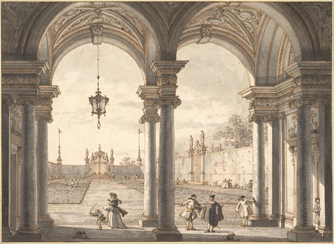 View through a Baroque Colonnade into a Garden  1760-1768 by Giovanni Antonio Canal  il Canaletto