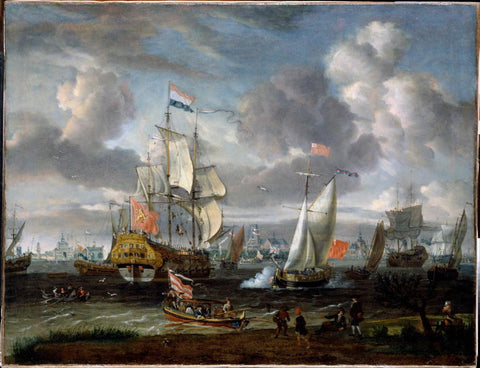 An English Yacht saluting a Dutch Man-of-War in the port of Rotterdam by Abraham Storck