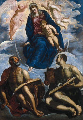 Mary with the Child  Venerated by St. Marc and St. Luke by Tintoretto