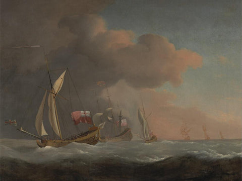 English Royal Yachts at Sea in a Strong Breeze  in Company with a Ship Flying the Royal Standard by Willem van de Velde the Younger