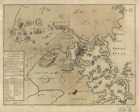 A plan of the town and harbour of Boston and the country adjacent with the road from Boston to Concord shewing the place of the late engagement between the King's troops & the provincials together with the several encampments of both armies in & about Bos