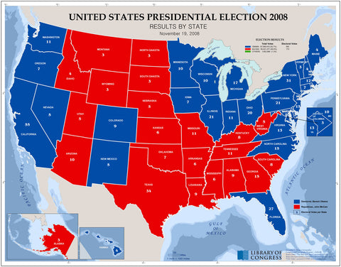 United States presidential election 2008 results by state November 19 2008 /