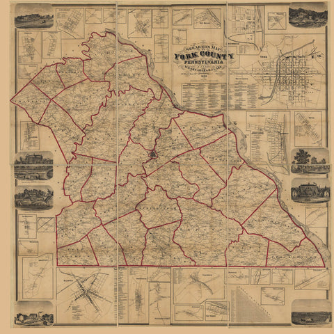Shearer's map of York County Pennsylvania : from actual surveys /