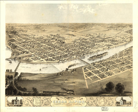 Birds eye view of the city of Cedar Rapids and Kingston Linn Co. Iowa 1868.