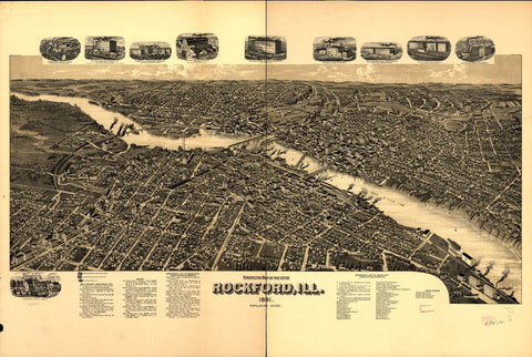 Perspective map of the city of Rockford Ill. 1891.