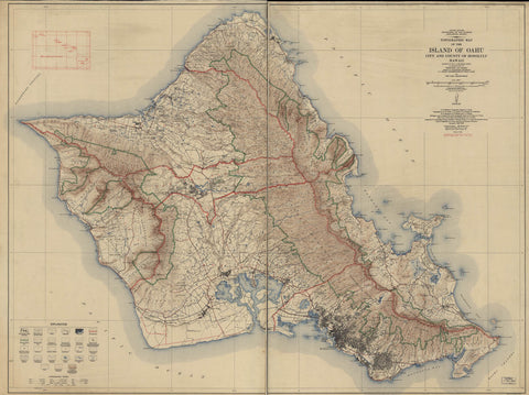 Topographic map of the Island of Oahu : city and county of Honolulu Hawaii /