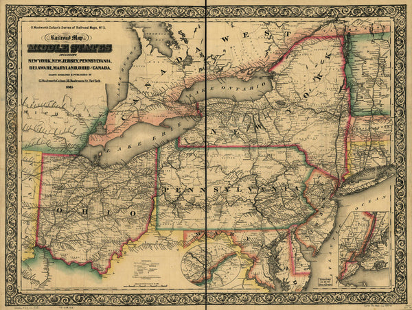 New railroad map of the middle states including New York New Jersey  Pennsylvania Delaware Maryland Ohio and Canada; drawn engraved & published  by G. ...