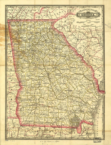 Indexed railroad and county map of Georgia.
