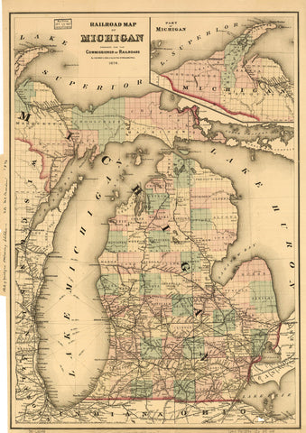 Railroad map of Michigan prepared for the commissioner of railroads.