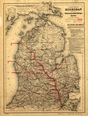 Map of Michigan showing the Toledo Ann Arbor & North Michigan Railway and connecting lines.