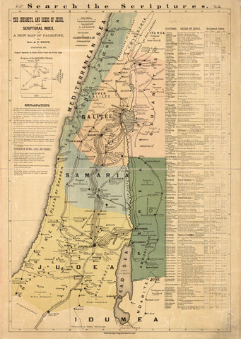 The journeys and deeds of Jesus and scriptoral index on a new map of Palestine /