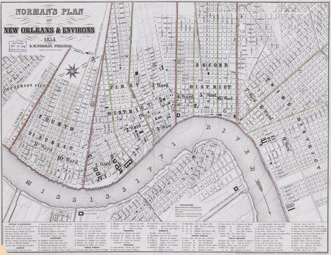 Norman's plan of New Orleans & environs 1854.