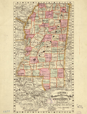 Cram's railroad & township map of Mississippi