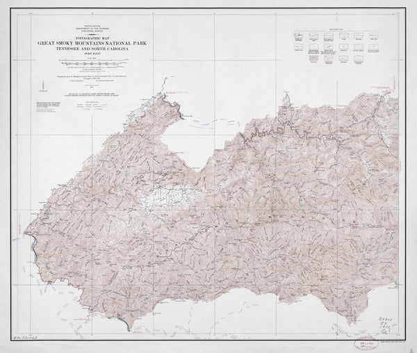 Topographic Map Mountains.Poster Of Topographic Map Great Smoky Mountains National Park