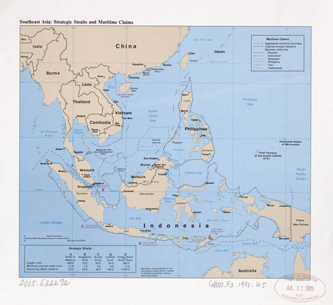 Southeast Asia : strategic straits and maritime claims.