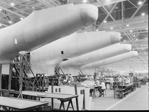 Construction of aircraft at the Glenn L. Martin plant at Baltimore  MD. Fuselages  just out of the assembly jigs are...  - 520743