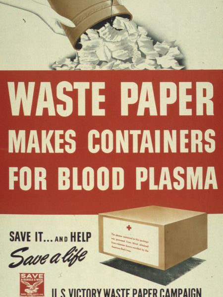 WASTE PAPER MAKES CONTAINERS FOR BLOOD PLASMA