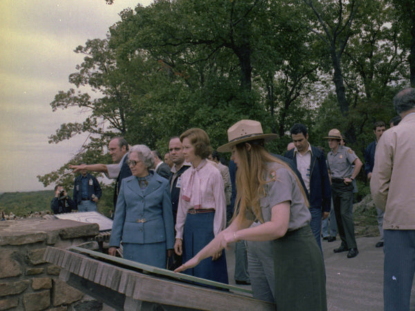 Mrs. Begin and Rosalynn Carter at the Gettysburg National Military Park during the Camp David Summit.