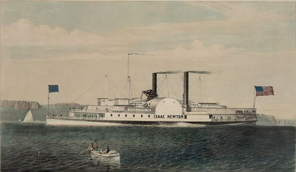 "The low pressure steamboat ""Isaac Newton"": passing the palisades on the Hudson River New York"